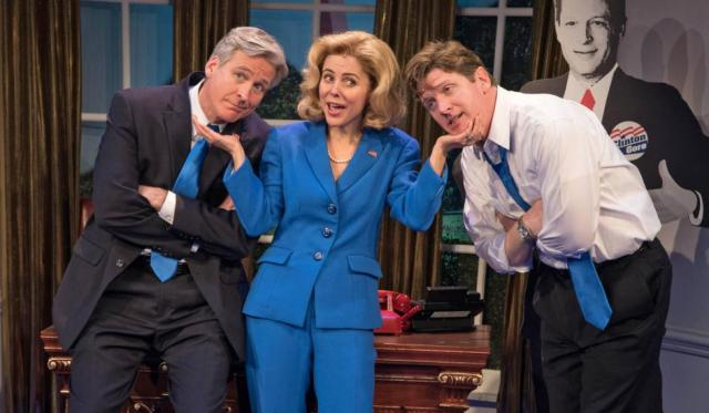 Tom Galantich as WJ, Kerry Butler as Hillary Rodham Clinton, and Duke Lafoon as Billy